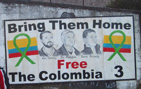 Mural in Derry dedicated to the 'Colombia 3'