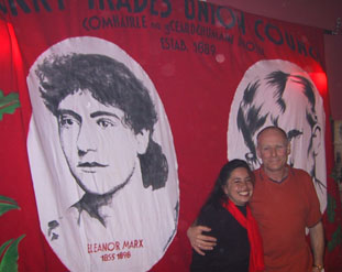 Berenice with Eamon McCann and Derry Trades Union Council banner