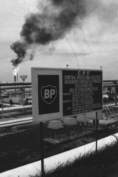 One of the pollution issues being investigated by Vargas at the time of his murder - gas being flared off at BP's Central Production Facility in Casanare (Photo 1997)