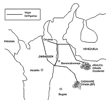 BP's pipelines run from south of Barrancabermeja and Casanare to Coveñas. The more northern Caño Limon pipeline is used by the US multinational Occidental.