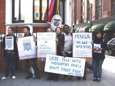emergency picket of the Colombian embassy in London on Friday 21 November